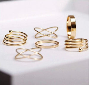 6pcs/bag Punk Promotion Gold Color Spiral Nail Knuckle Rings Mid Finger