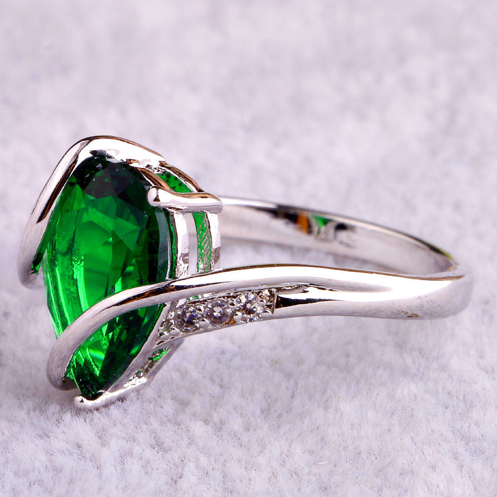 Fashion Jewelry Absorbing Green Emerald Quartz 925 Silver Ring Size