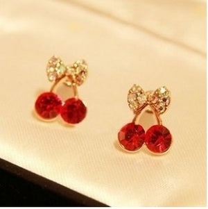 Korean Jewelry  Lovely Red Drill Cherry Delicate Elegant Earrings