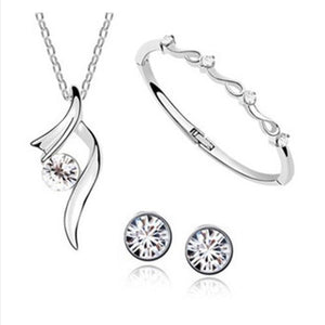 Hot Sale Promotion Fashion Silver Plated Austrian Crystal Necklace/Stud Earrings bracelet Wedding Jewelry