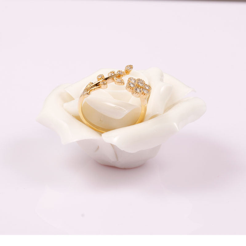 Joyme 11.11 leaf 14k gold plated rings for women mini finger rings