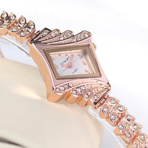 Rose Gold Crystal Rhinestone Leaf Buds Strap