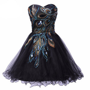 New Grace Karin 2016 Hot Designer Peacock Ball Black Short Mini Graduation Homecoming Evening Prom Party Cocktail Dresses