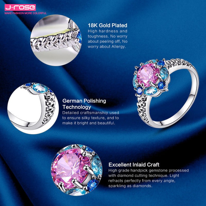 Fllower Cluster Jewelry Women Party Gift Lady  Round Cut Pink Topaz