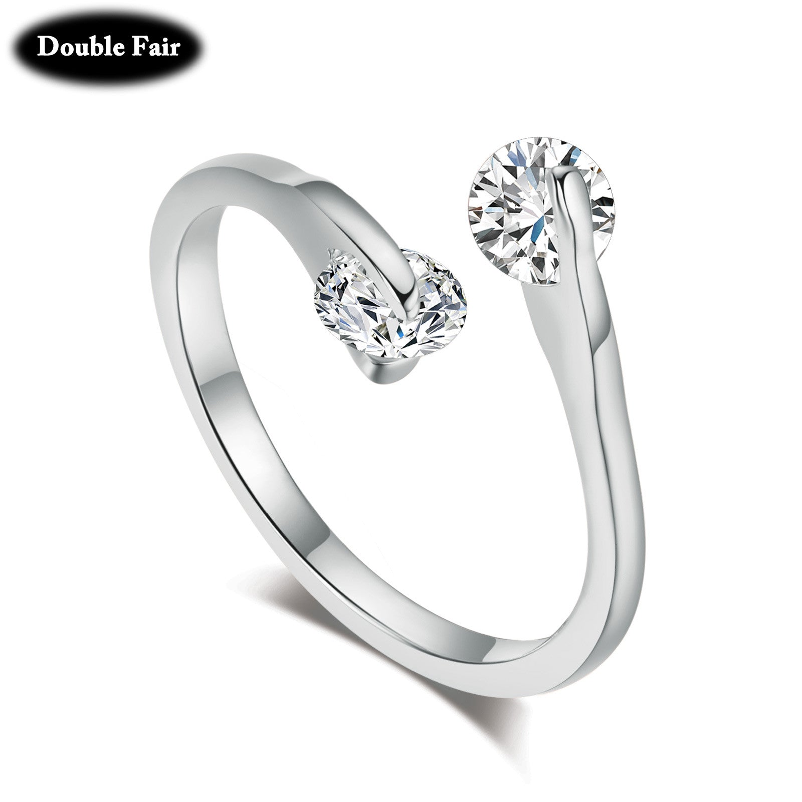 Fashion OL Style Design Twin CZ Diamond 18K Rose Gold/Silver Plated