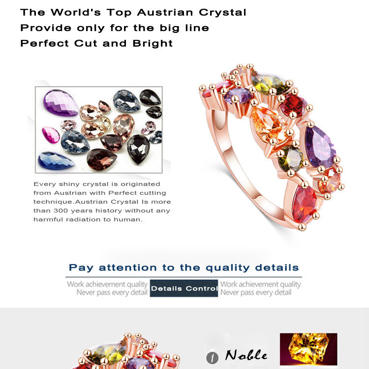 2016 New Top Quality 18K Rose Gold Plate with Multicolor Cubic Zircon Pendant/Earrings/Ring Women Wedding Jewelry Sets