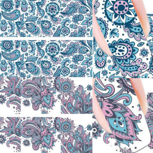 2 Patterns/Sheet Blooming Flower Nail Art Water Decals Transfer Sticker - Gifts Leads