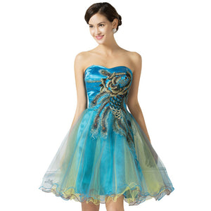 Sweetheart Robe Coktail Grace Karin Short Tulle Beaded Peacock Formal Wedding Party Dress Celebrity Prom Cocktail Dresses