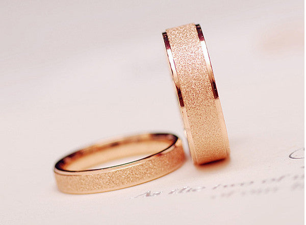 14k rose gold plated  matte titanium steel ring couple rings do not fade - Gifts Leads