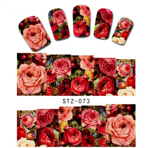1 sheet Sexy Red Rose Water Transfer Nail Art Stickers Decals Decorations DIY Watermark Wraps Manicure Tools - Gifts Leads