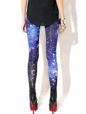 Sexy Universe Galaxy Blue Printed Leggings Pants