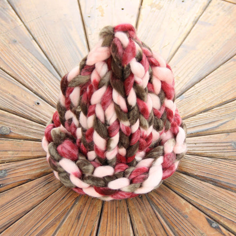 Handmade solid color coarse knitted hat coarse bar knitted