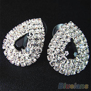 Wedding Party Bridal Black Diamante Crystal Necklace Earrings Set Jewelry Prom