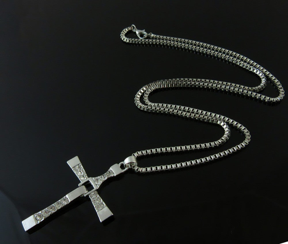 2017 Movie jewelry The Fast and Furious Dominic Toretto   Classic Male Rhinestone CROSS Pendant Necklace