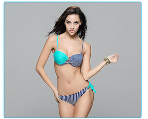 2016 Andzhelika New Fashion Swimsuit Women Sexy Bikini Striped Swimwear Bikini Push Up Bathing Suit maillot de bain femme - Gifts Leads