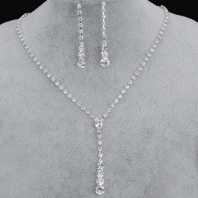 "Crystal Tennis Drop Necklace Set 14""-17"" Silver Bridal Bridesmaid Jewelry sets Rhinestone Necklace Earrings"