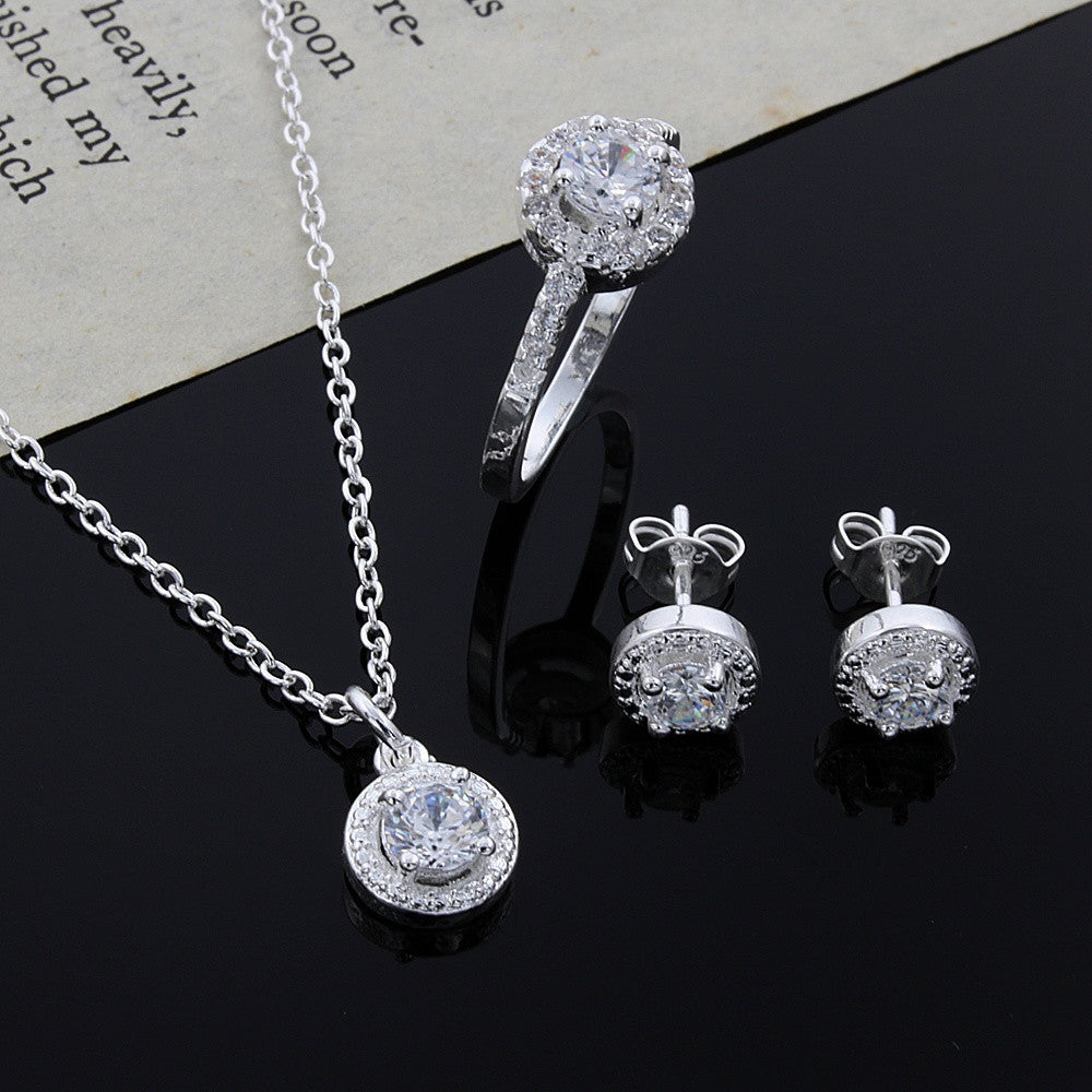 New Christmas gift 925 sterling silver fashion elegant women classic shiny crystal CZ necklace earring ring jewelry Set