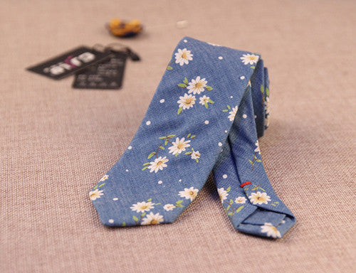 New Summer Casual 100% Cotton Ties For Men Vintage Printed Floral