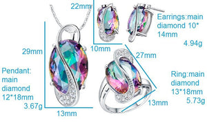 2016 Oval Wedding Jewelry Sets for Brides Stud Earrings Ring Necklace Set Crystal Jewelry 925 Sterling Silver