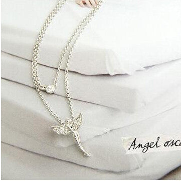 New hot Fashion High quality Gold-plated chain rhinestone angel wings pendant Necklace Statement jewelry 2016
