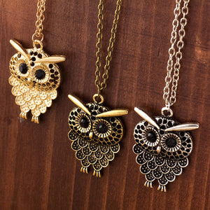 Vintage Women Owl Pendant Neclace Long Sweater Chain Jewelry Golden Antique Silver Bronze Charm