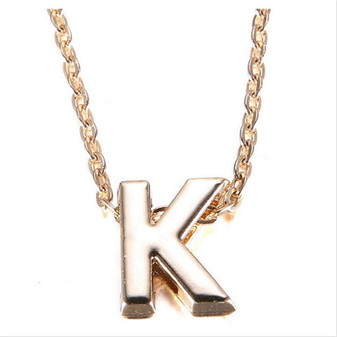 DIY 26 Letter Charm Pendant Necklace Women Simple Clavicle Chain Necklace Gold Plated Choker Colar Collier Jewellery
