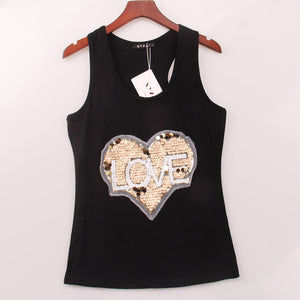 2 Colors Summer Style Tank Top LOVE HEART Sequined Sequins Vest Women Tops Sexy Sport Round Neck Racer Back Gym Camisole Woman - Gifts Leads