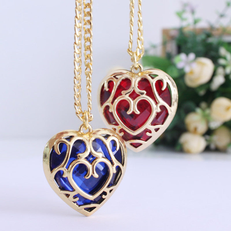 Sunshine The Legend of Zelda Heart pendant Necklace and key ring size 4cm blue and red unisex necklace
