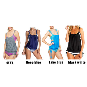 Summer Swimwear 2 Pieces Suits Women Sexy Stripes Lined Up Double Up Tankini Top maillot de bain Padded Bathing Suit Swimsuit