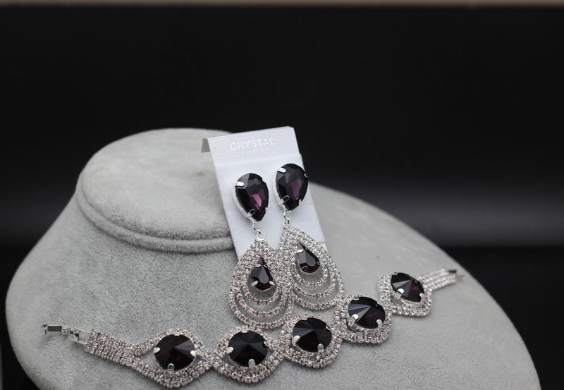New Brand Design Wedding Bridal Silver Plated Austrian Crystal Bracelet Earrings Rhinestones Pendant Fashion Jewelry sets