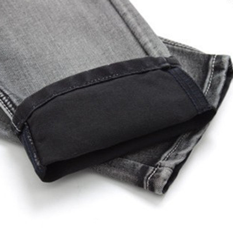 Men's Jeans Slim Water-washed Straight Pants Light Gray