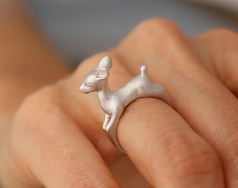 1pc Adjustable Bambee ring Animal Deer Ring in Gold Jewelry - Gifts Leads