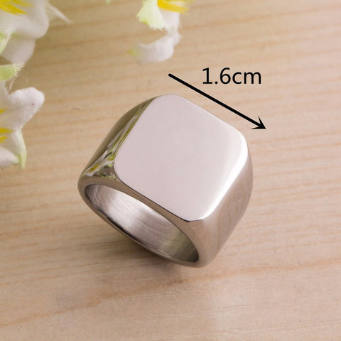 Fashion Men's High Polished Signet Solid ring 316L Stainless Steel Biker Ring