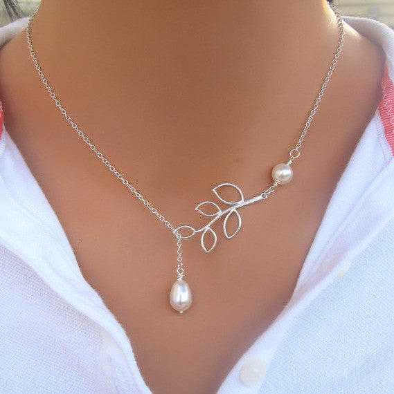 Simple leaves Short of pearl necklace chain of clavicle b4xr