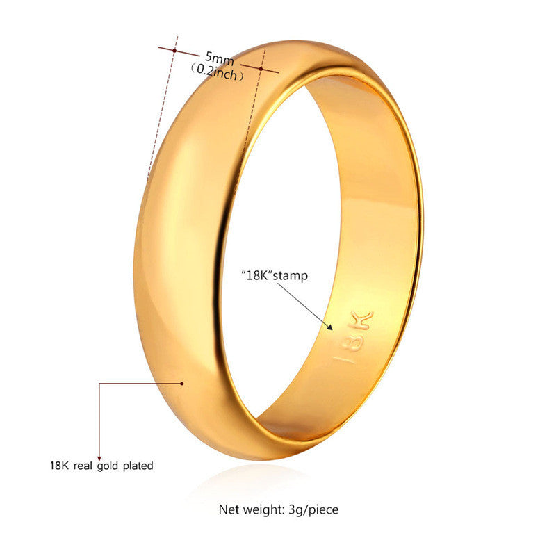 "Gold Rings For Women /Men Jewelry With ""18K"" Stamp Real Gold/Platinum Plated"