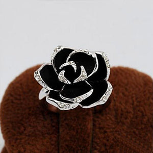 2016 New Arrival Black Rose Flower Cute Female Ring