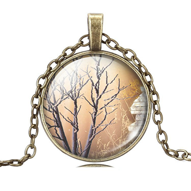 Vintage Glass Cabochon Family Life Tree Necklace , Antique Bronze Pendant Chain Necklace , Fashion Women Men Christmas Gifts