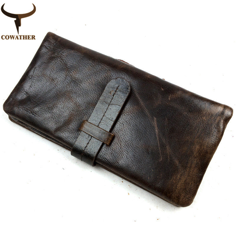 100% TOP cow genuine luxury leather men wallets high quality - Gifts Leads