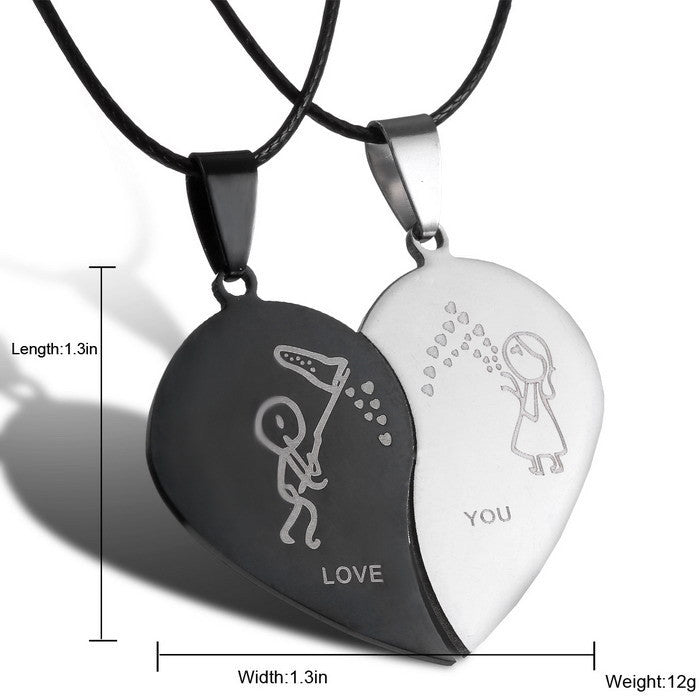 New Charm Jewelry Couple Heart choker Necklaces Black