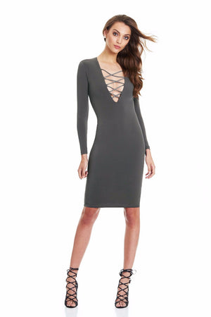 Cotton Women Tie Up Autumn Bodycon Party Dress Sexy