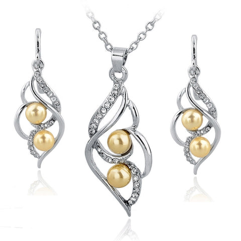 Fashion Double Pearl Jewelry Set Gold Silver Plated Earrings Necklace Set Austrain Crystal Wedding Accessories Jewelry