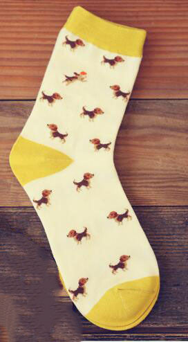New Creative Cartoon Banana Christmas Elk hit Color Socks