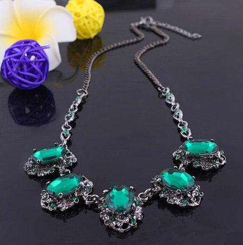 Star Jewelry Fashion 2 colors Pop Plated Turquoise  Rhinestone Necklaces For Women Statement necklaces & pendants HOT