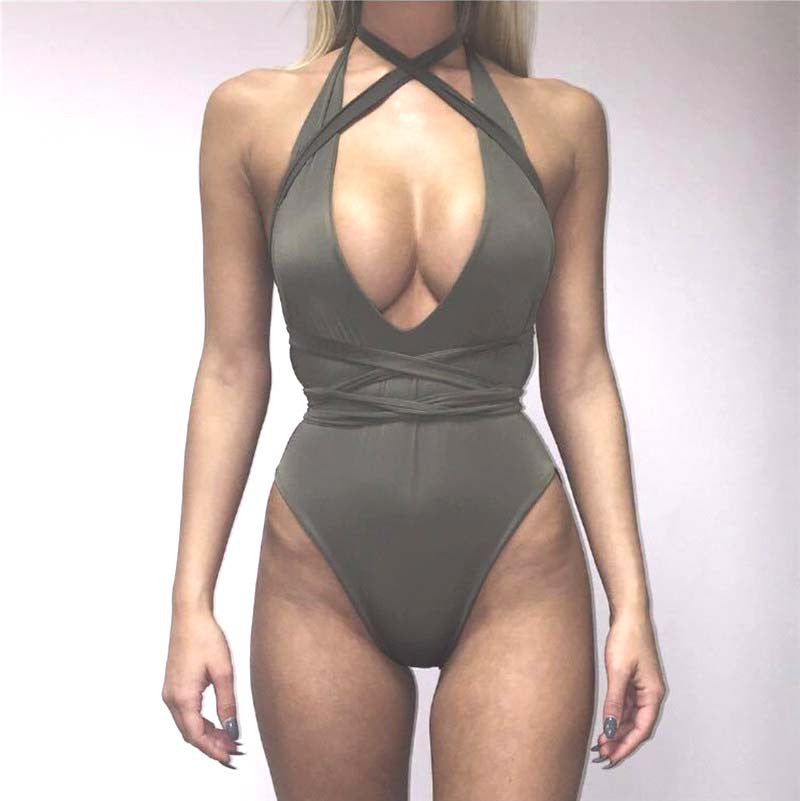 New arrival 2016 women's one-piece swimsuit sexy solid color Side straps swimwear swimsuit