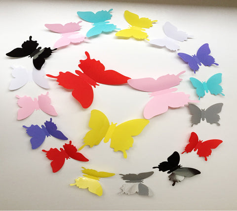 12pcs Hot Wonderful Art Design Decal Wall Sticker Home Decor Black blue red yellow Room Decorations 3D Butterfly wedding decor - Gifts Leads