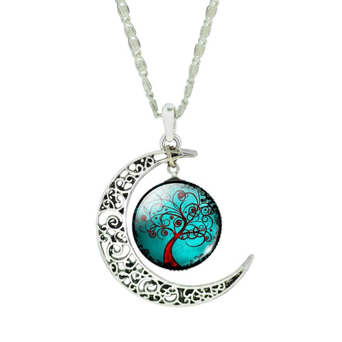 Fashion Glass Moon Statement Necklace Vintage Sterling Silver Jewelry Life Tree Pandent Necklace for Women 2016