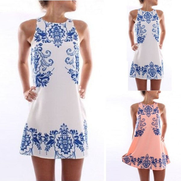Women Sleeveless Dress Chiffon Cotton Floral Print Casual