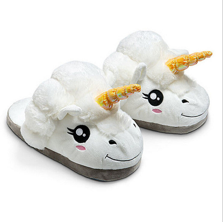 1Pair Plush Unicorn Cotton Slippers for White Despicable Me - Gifts Leads