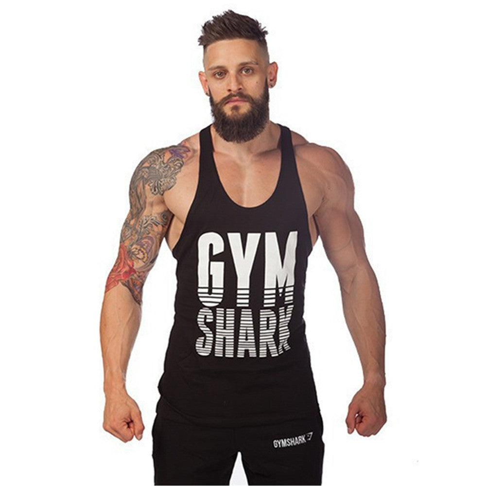 2016 Gym Tank Top Men Gym Shark Fit Stringer Bodybuilding