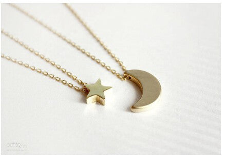 Two layer necklace, Multi strand, Moon and Star Necklace, Hammered, layering, simple necklace for women jewelry